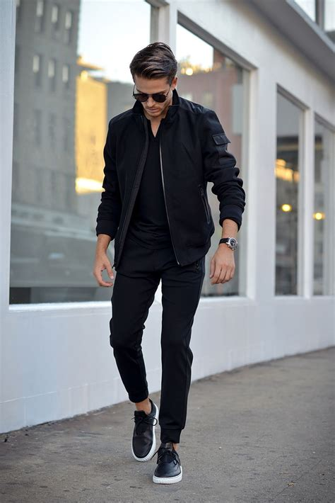 Casual Style black on black s casual bomber jacket