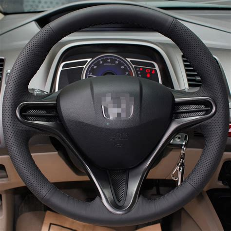 honda civic steering wheel cover stitched black leather steering wheel cover for honda