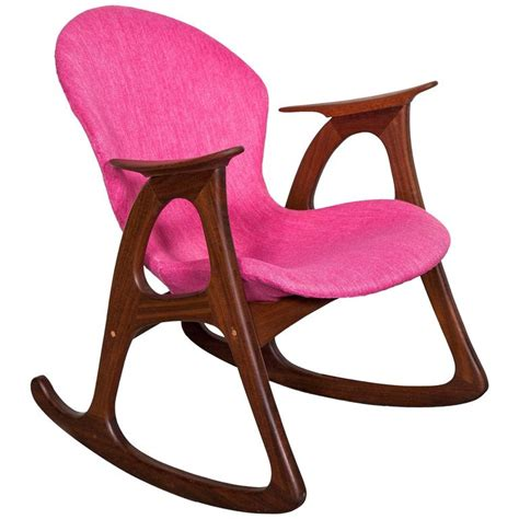 pink rocking chair and stool teak rocking chair by aage christiansen pink at 1stdibs