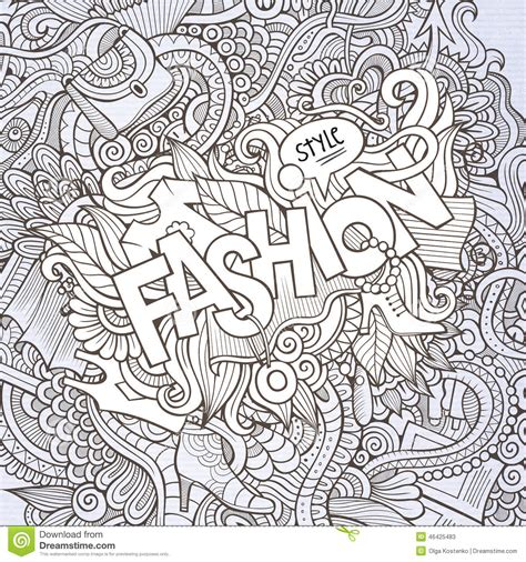 fashion vector background pattern fashion hand lettering and doodles elements stock vector