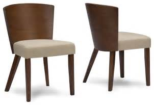Sparrow wood fabric modern dining chairs set of 2 brown