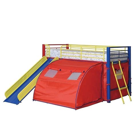 loft bed with tent coaster kids metal twin loft bunk bed with slide and tent