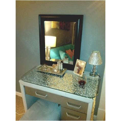Painted Sewing Table Diy Vanity 5 00 Goodwill Glass Top Diy Glass Desk