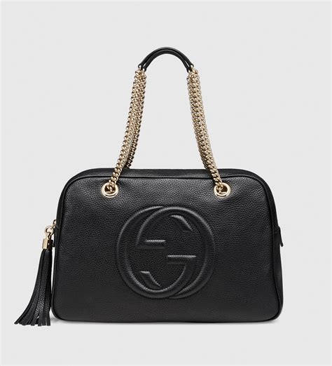 Gucci Leather 2 lyst gucci soho leather shoulder bag in black