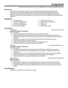 Resume Sle For Computer Technician by Computer Repair Technician Resume Sle My Resume
