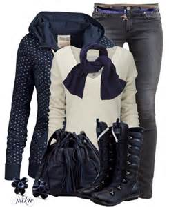 Casual blue winter outfit idea be modish