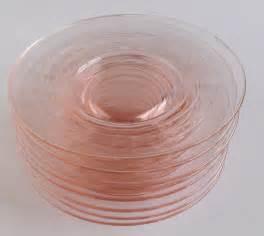 vintage pink depression glass dessert plates set of 8