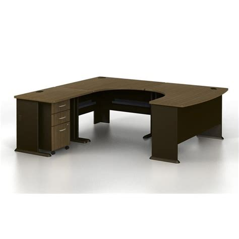 U Shaped Computer Desks Bush Bbf Series A U Shaped Left Computer Desk In Walnut Wc25566 Pkg1