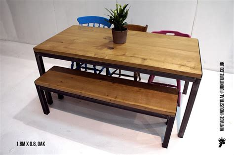 oak dining table with bench industrial style oak dining table