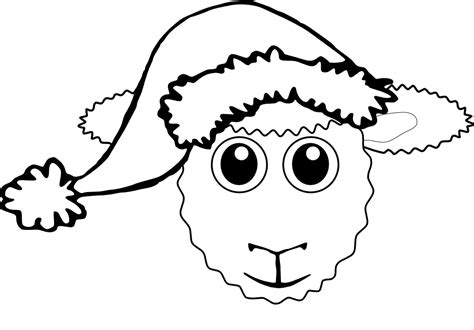 187 sheep 1 face cartoon santa hat black white line coloring