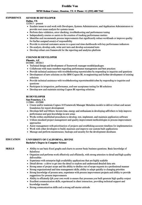 bi developer resume sles velvet