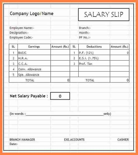 wage receipt template 2 salary receipt format salary slip
