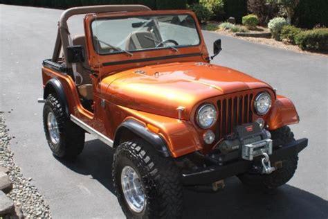 orange jeep cj j9f83eh837985 1979 jeep cj5 in corvette atomic orange v8