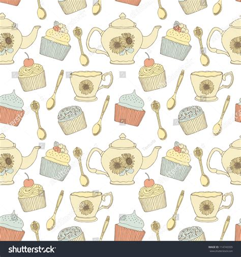 seamless pattern cake cake seamless pattern stock vector illustration 114743335