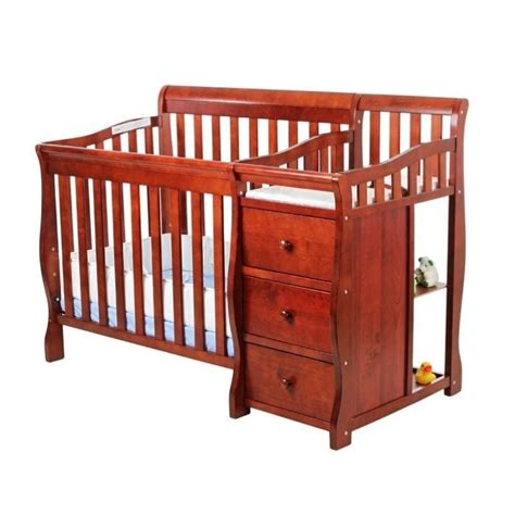 Mini Convertible Crib On Me 4 In 1 Mini Convertible Crib And Changer In Cherry 629 C
