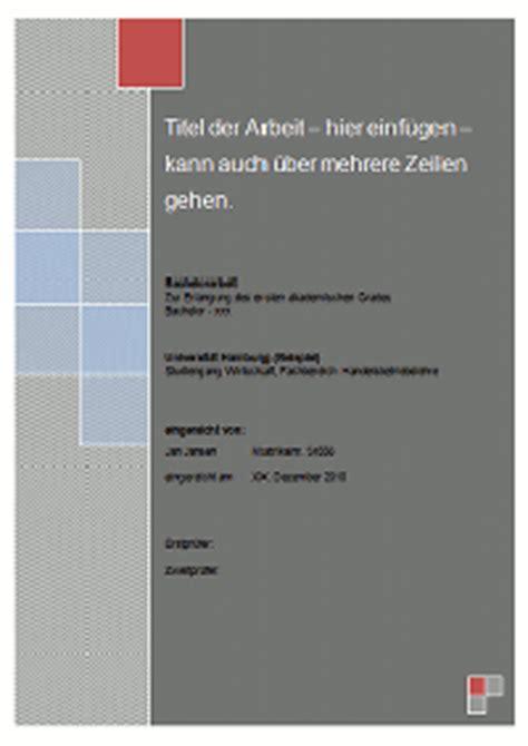 layout word hausarbeit gestaltung und inhalt des deckblattes einer bachelorarbeit