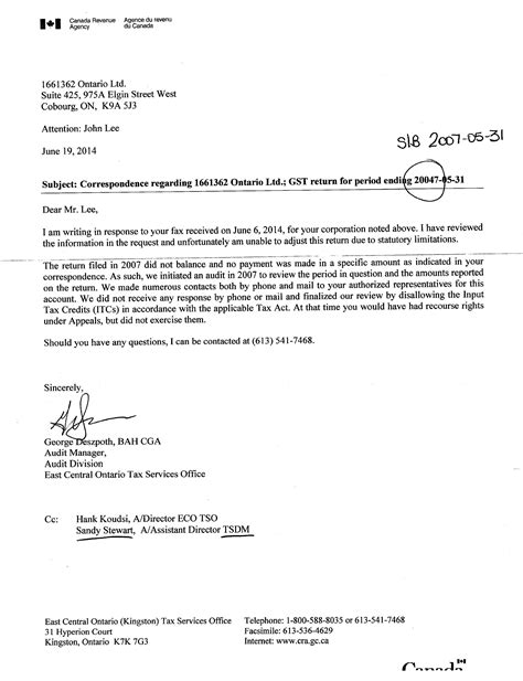 Gst Release Letter writing agency canada