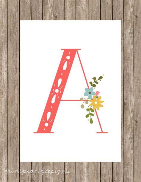 arts and letters 2 floral monogram letter print 5x7 digital printable 1083