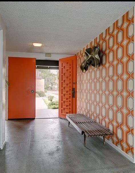 vintage mid century modern retros 60s sliding door floating cone leg orange geometric mid century modern doors midcentury