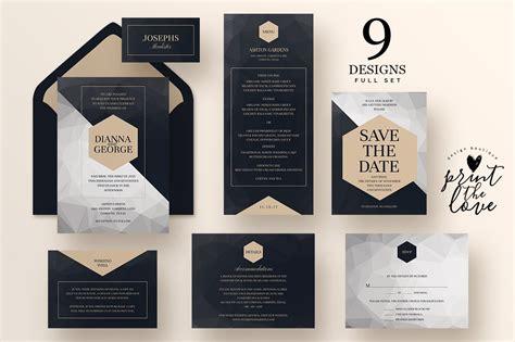 wedding invitation suite poly wedding templates creative market