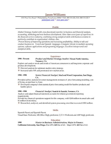 resume downloadable templates sle resume 85 free sle resumes by easyjob sle