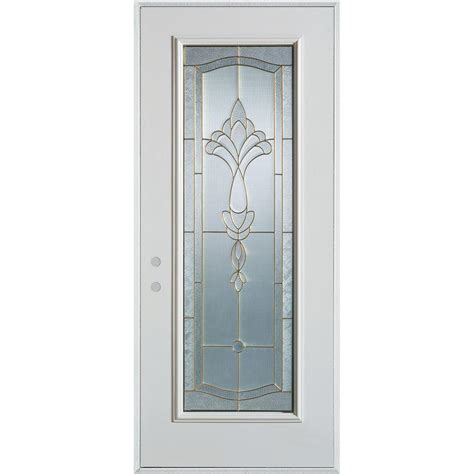 R For Front Door Stanley Doors 36 In X 80 In Traditional Patina Lite Prefinished White Right Inswing