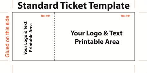 free editable standard ticket template exle for concert with logo and text area in white