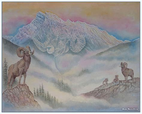 rams mount rams at mount rundle painting by price