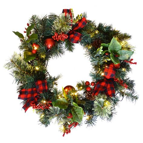 24 quot led christmas wreath red berries tartan bows door