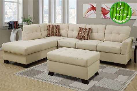 Poundex F7926 Beige Fabric Sectional Sofa And Ottoman Sectional Sofa With Ottoman