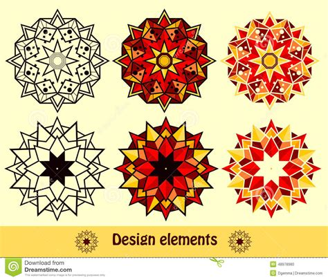 design elements style the set design of symmetric elements stock vector image