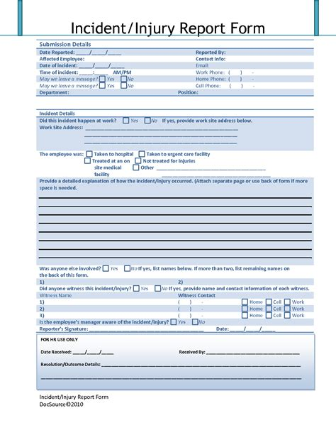 workplace injury report form template best photos of employee injury incident report employee