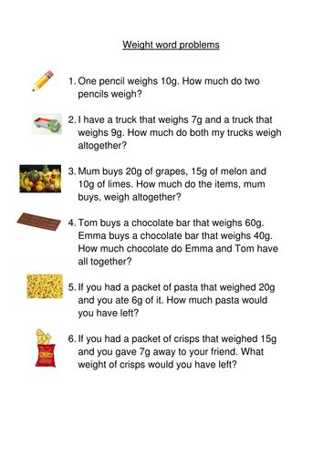 weight word problems year1 by coraliepattenden teaching