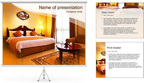Classical Hotel Room Powerpoint Template Backgrounds Id Hotel Powerpoint Presentation Templates