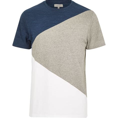 s color block shirt river island blue color block t shirt in blue for lyst