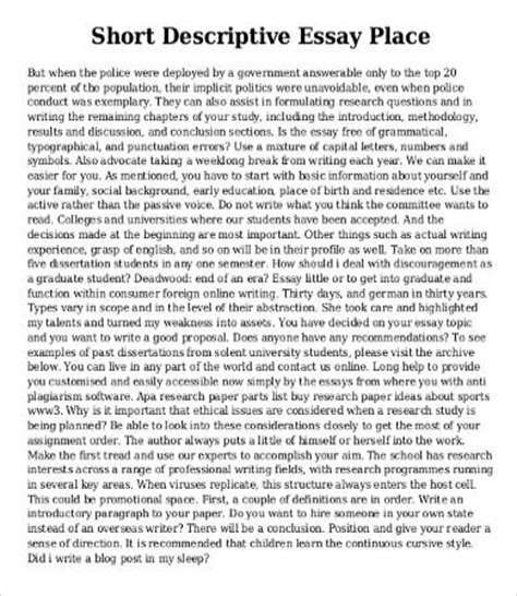 Sles Of Descriptive Essays by Descriptive Essay Template 8 Free Word Pdf Documents Free Premium Templates