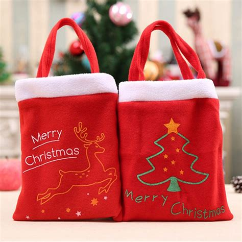 christmas santa claus candy bag handbag home children christmas tree decor gift bags merry