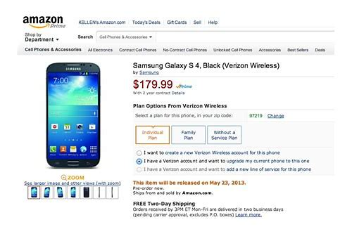 verizon samsung galaxy s4 deals
