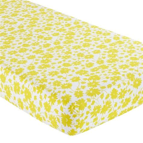 Yellow Fitted Crib Sheet by Yellow Floral Print Crib Sheet Baby Wishin