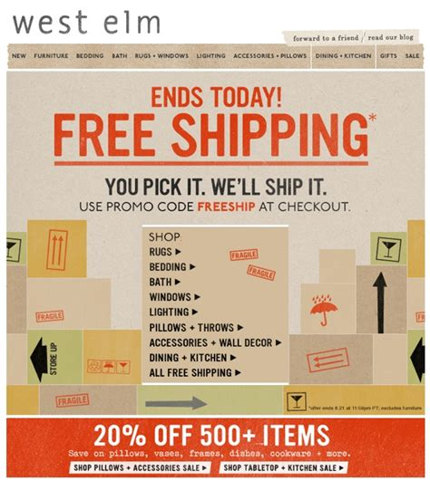 west elm presidents day sale west elm free shipping email emails west elm and edm