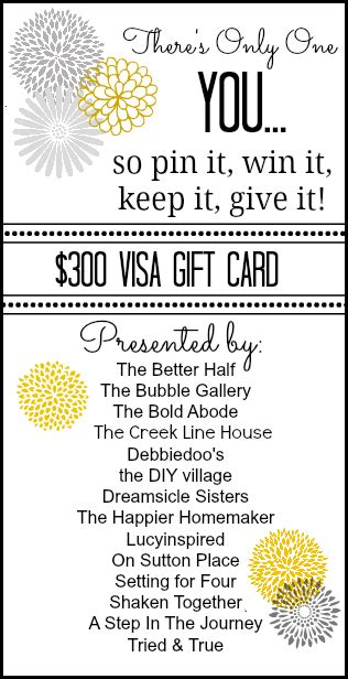 Only 1 Gift Card Pin - there s only one you 300 visa gift card giveaway the creek line house