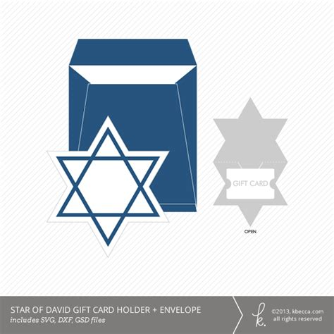 template of david shield folding card hanukkah of david gift card holder envelope die cuts
