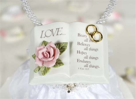 Love Verse Bible Cake Topper With Pearl Heart   Wedding