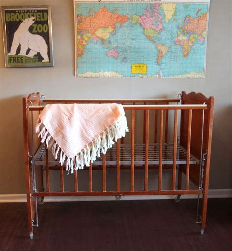 Vintage Baby Cribs by Vintage Baby Crib Maple Wood With Painted Flowers Kroll Krib