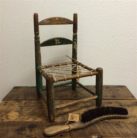 Vintage doll chair wooden with woven leather strap seat rustic primitive time worn mini
