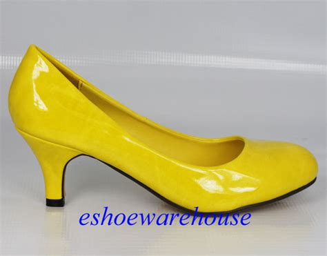 A Late Addition To The Yellow Shoe Roundup Patent Peep Toe Pumps From Bcbgirls To 4999 At Smartbargains by Soo Yellow Patent Low Mid Heels Pumps Toe Dress