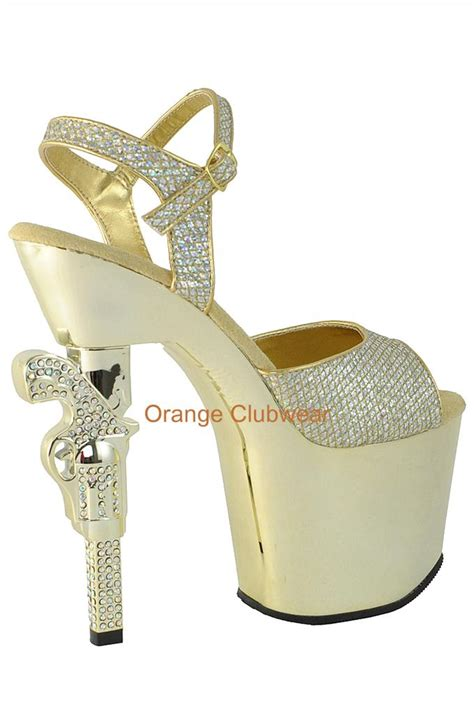 gun high heels pleaser metallic gold chrome platform gun high heels