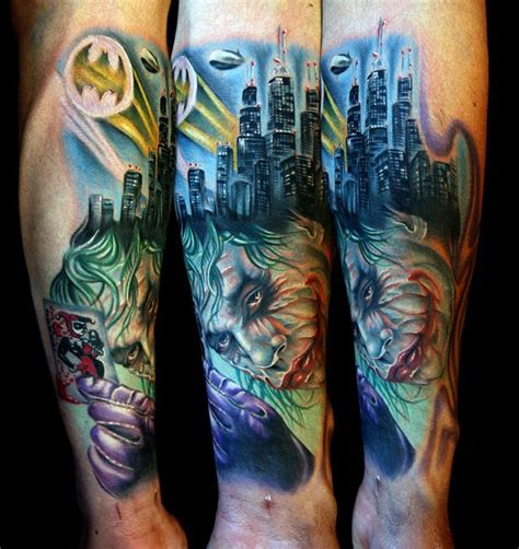 joker tattoo sleeve designs our favorite batman tattoos from around the world