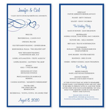 wedding program template word cyberuse