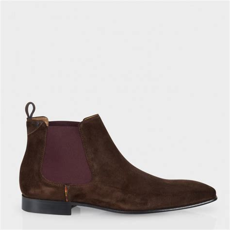 suede chelsea boots mens paul smith falconer suede chelsea boots in brown for